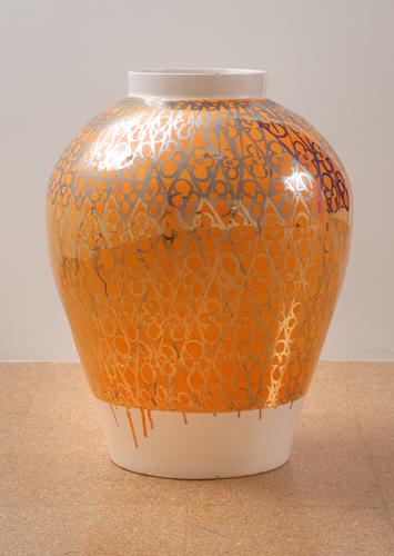 Judy Ledgerwood, Ceramic #3, 2010, Glazed ceramic, 27 x 19 x 19 in. (68.6 x 48.3 x 48.3 cm)