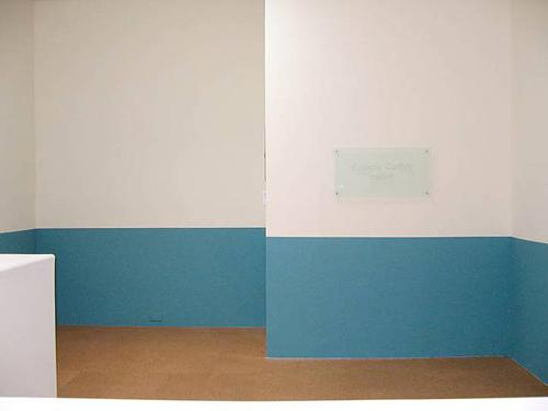 Kate Ericson and Mel Ziegler, Francis Corbin parlor, 1989, Acrylic, glass plaque