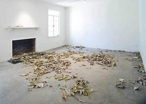 Pae White, November Gutter Leaves, Pasadena, 2009, Canvas and aluminum