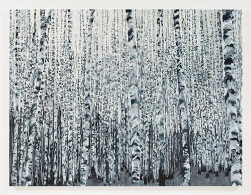 Kirsten Everberg, White Birch Grove, North (After Tarkovsky), 2008, Oil & enamel on canvas on panel, 6 x 8 ft