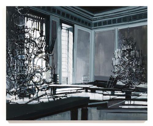 Kirsten Everberg, Interior With Chandelier (After Tarkovsky), 2008, Oil & enamel on canvas on panel, 4 x 5 ft