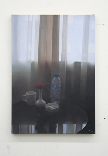 Paul Winstanley, Hotel Room Still Life, 2007, Oil on linen, 24 1/2 x 17 in. (62.2 x 43.2 cm)