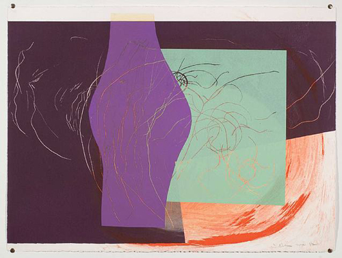 Jessica Stockholder, Untitled, 2000, Relief print with collage element, 22 1/2 x 30 1/4 in.