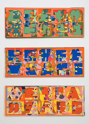 Pae White, Noisy Letters (Blue), Noisy Letters (Green), Noisy Letters (Yellow), 2006, Collage, 37 x 25 in. (94 x 63.5 cm)
