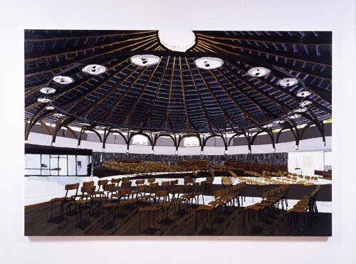 Kirsten Everberg, Church, Haut du Lievre, Nancy, 2005, Oil and enamel on panel, 72 x 108 in.