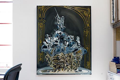 Kirsten Everberg, Fountain, Nancy, 2005, Oil and enamel on panel, 48 x 60 in.