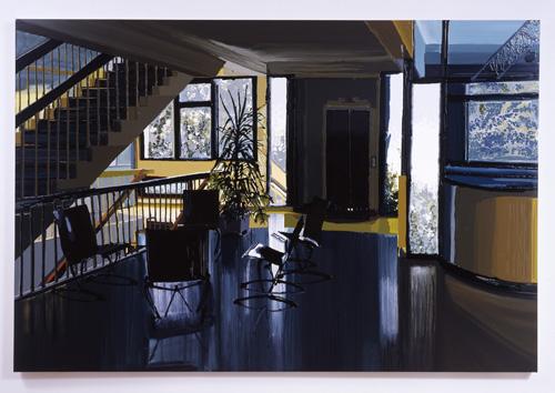 Kirsten Everberg, Lounge, Haut du Lievre, Nancy, 2005, Oil and enamel on panel, 48 x 60 in.