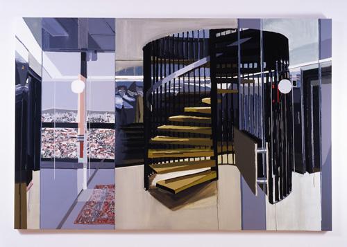 Kirsten Everberg, Tower, Haut du Lievre, Nancy, 2005, Oil and enamel on panel, 72 x 108 in.