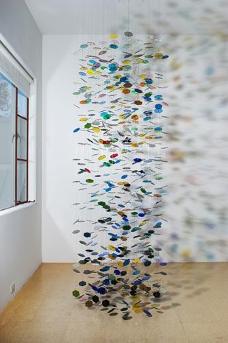Pae White, Frieze Festoon, 2005, Glass, string and laminated ephemera, Variable dimensions