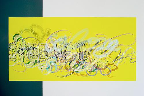 Pae White, Farewell Garland; so long, so long, 2005, Adhesive vinyl, 44 x 90 in.
