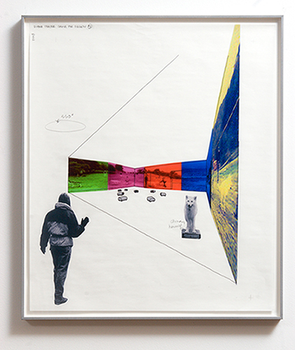 Diana Thater, Siegen Installation Drawings (detail), 2003, Vellum with ink, graphite, pantone film, and ink jet prints