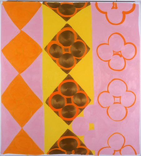 Judy Ledgerwood, Kissin Cousins, 2004, Oil & metallic gold on canvas, 56 x 60 in.