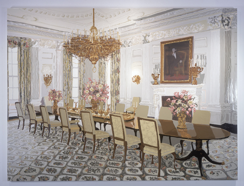 Kirsten Everberg, The State Dining Room, 2003, Oil and enamel on canvas over panel, 6 x 8 ft.
