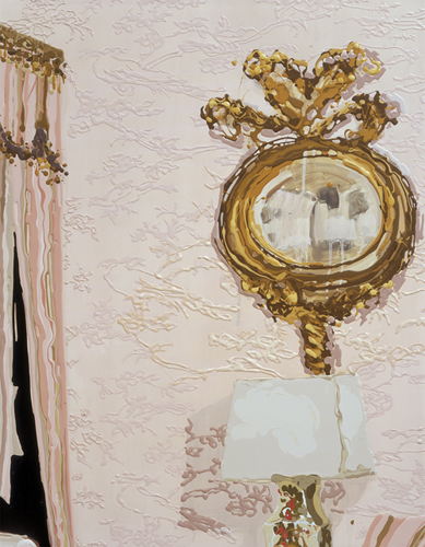 Kirsten Everberg, The Queen's Beddroom, 2004, detail, Oil and enamel on canvas over panel, 6 x 8 ft.