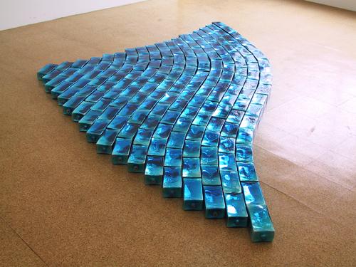 Pae White, Blue Wheat, 2003, Blown glass bricks