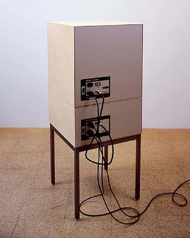 Angela Bulloch, TV Series (back view), 2002, 1 DMX module, 1 Demi-black box module, legs, 49 1/4 x 19 3/4 x 19 3/4 in.