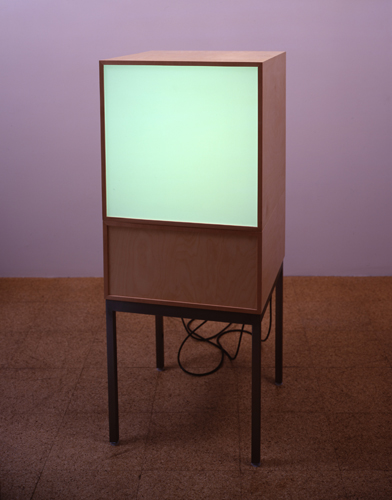 Angela Bulloch, TV Series: World Business, 2002, 1 DMX module, 1 Demi-black box module, legs, 49 1/4 x 19 3/4 x 19 3/4 in.