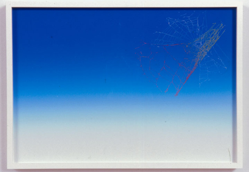 Pae White, Web Sampler #53, 2001, Spider web on Perfect Paper, 40 x 30 in.