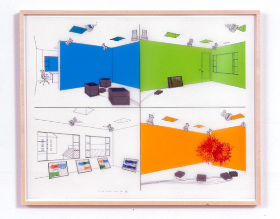 Diane Thater, 1301PE#2, 2001, Ink on mylar with pantone and inkjet prints, 25 1/2 x 31 1/2 in.