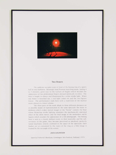 Jack Goldstein, Portfolio of Performance (Two Boxers), 1976-1985/2001, 9 Silk-screened text and color photographs mounted on paper