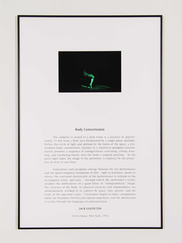 Jack Goldstein, Portfolio of Performance (Body Contortionist), 1976-1985/2001, 9 Silk-screened text and color photographs mounted on paper