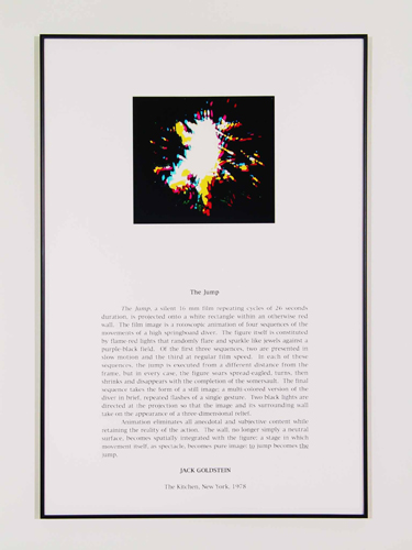 Jack Goldstein, Portfolio of Performance (The Jump), 1976-1985/2001, 9 Silk-screened text and color photographs mounted on paper