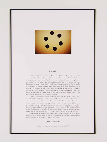 Jack Goldstein, Portfolio of Performance (Records), 1976-1985/2001, 9 Silk-screened text and color photographs mounted on paper