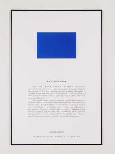 Jack Goldstein, Portfolio of Performance (Sound Performance), 1976-1985/2001, 9 Silk-screened text and color photographs mounted on paper