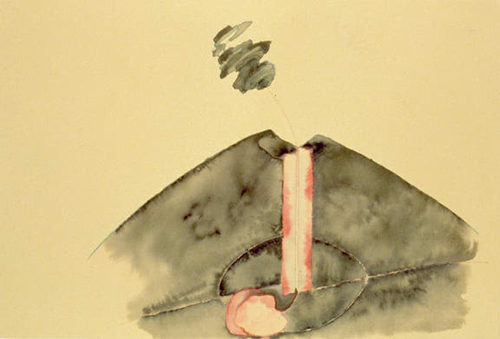 Katy, Schimert, Love at Mount Vesuvius, 1999, Watercolor on paper