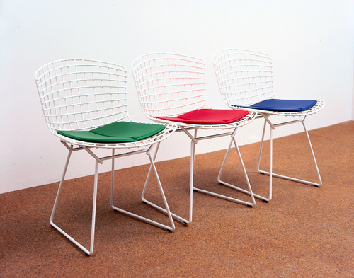 AA Bronson, Untitled (for General Idea), 1998, Set of three Bertoia chars with GRB cushions, 29 x 19 x 22 in (each chair) (73.7 x 48.3 x 55.9 cm)