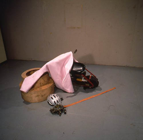 Jason Rhoades and Jorge Pardo, Ranch, 1996, Mixed media with commemorative Miller carburetor belt buckle and hand-tooled leather belt