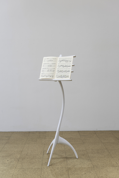 "Ana Prvacki, ""Music Stand,"" 2015, Wood, poured resin and mixed media on paper, 53 x 19 x 19 inches"