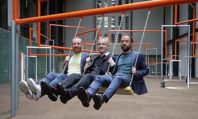Danish art collective Superflex, from left: Jakob Fenger, Rasmus Nielsen and Bjørnstjerne Christiansen, on One Two Three Swing! at Turbine Hall in Tate Modern, London. Photograph: PA