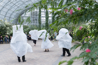 A biennial performance at the Garfield Park Conservatory was a collaboration between New York firm SO-IL and artist Ana Prvački, with music by the Los Angeles composer Veronika Krausas. (Iwan Baan)