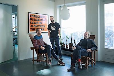 From left, Fenger, Christiansen and Nielsen of the Danish art collective Superflex. Nikolaj Møller/Blink Production