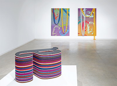 """View of """"Blake Rayne,"""" 2016–17. Foreground: A Line, 2013. Background, from left: Untitled, 2010; Untitled, 2010. Photo: Peter Molick."""