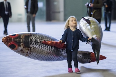 A young visitor to Philippe Parreno's Turbine Hall installation. Photograph: Guy Bell/Rex/Shutterstock