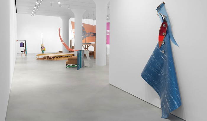 Installation view of Jessica Stockholder: The Guests All Crowded Into the Dining Room at  Mitchell-Innes & Nash (© Jessica Stockholder; Courtesy of the artist and Mitchell-Innes & Nash, NY.)