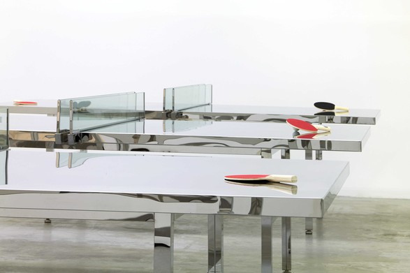 Rirkrit Tiravanija, untitled 2012 (who if not we should at least try to imagine the future, again) (remember Julius Koller). 14 mirror polished stainless steel ping pong tables, Gavin Brown Enterprise, NY. Photo: Thomas Müller