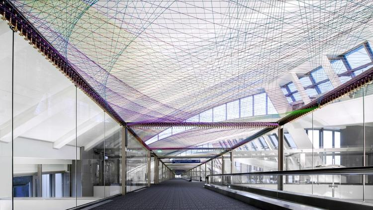 """A view of artist Pae White's installation """"ΣLAX,"""" recently unveiled at the international terminal at Los Angeles International Airport. (PanicStudio L.A.)"""
