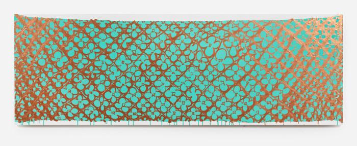 Judy Ledgerwood, Study for Doha #1, 2013, Acrylic gouache on panel, 20 x 60 inches.