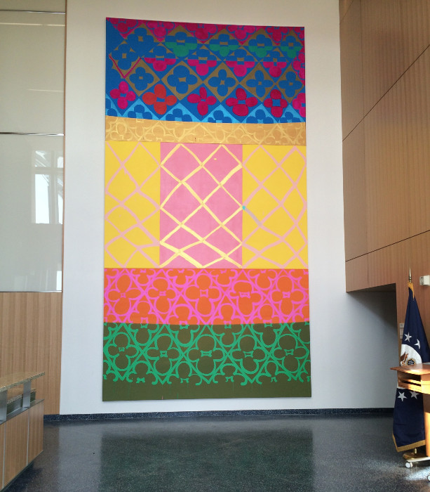 Judy Ledgerwood, Painting for Laos, 2015. Installation view at American Embassy in Vientiane, Laos.