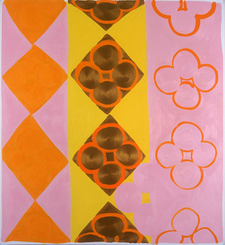 Judy Ledgerwood, Kissin Cousins, 2004, Oil and metallic gold on canvas, 60 x 54 in.