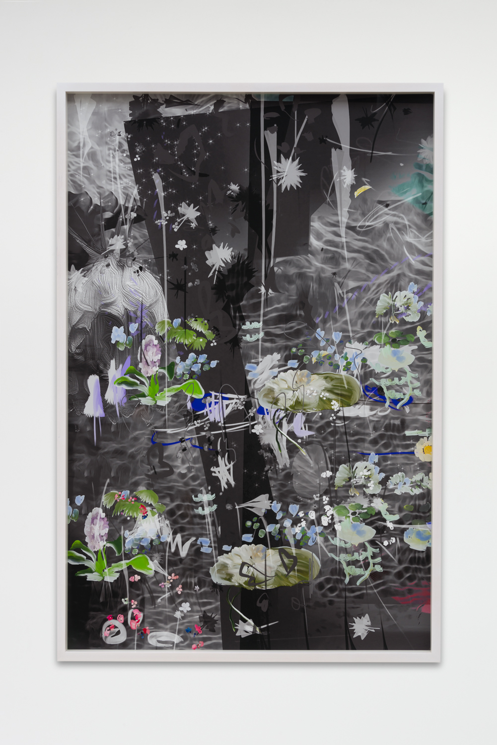 """Petra Cortright, """"DMR billing***do It yourself evolution video,"""" 2017, Digital painting on Sunset Hot Press Rag paper, 46 x 30 inches"""