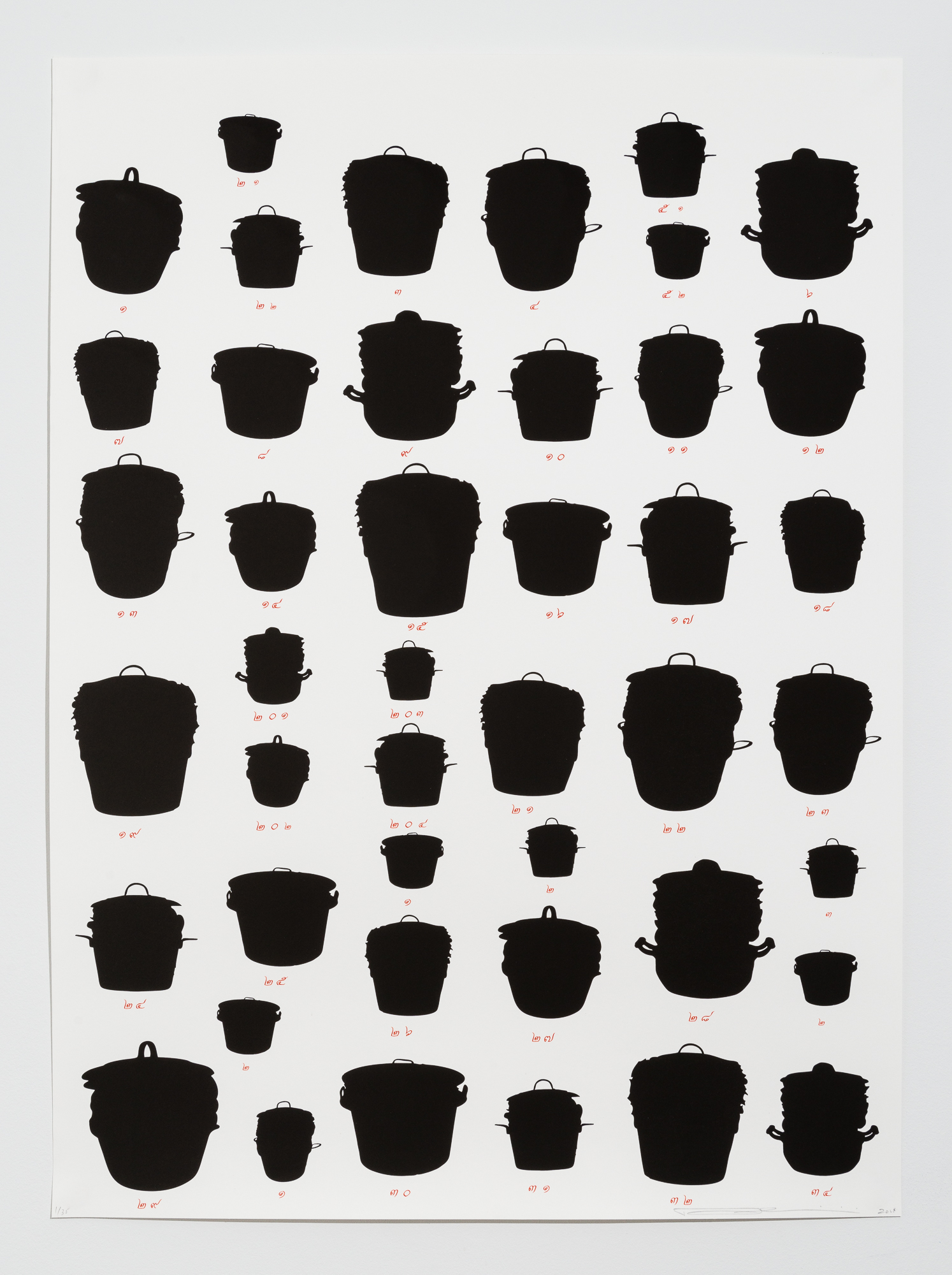 """(1 of 3) Rirkrit Tiravanija, """"Untitled,"""" 2014, Lithograph, 45 x 33 inches each, Edition of 35"""