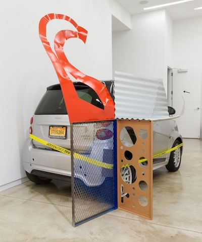 "Jessica Stockholder, Chicago, ""Assist #1"", 2015. Painted metal, ratchet clamp with yellow webbing and felt, 74 by 90 by 48 in."