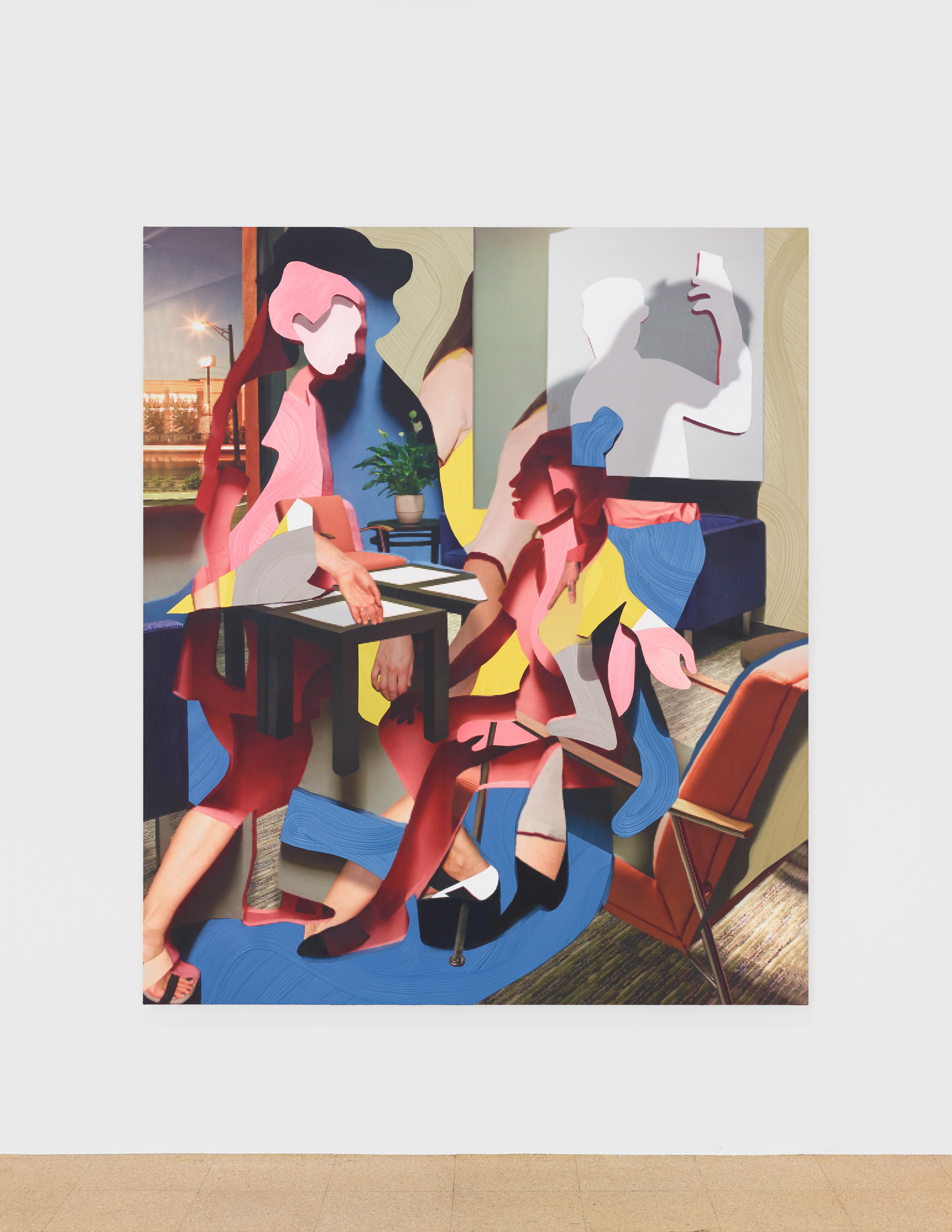 Pieter Shcoolwerth, Personality Inventory #5, 2018, Oil, acrylic, and giclee print on canvas
