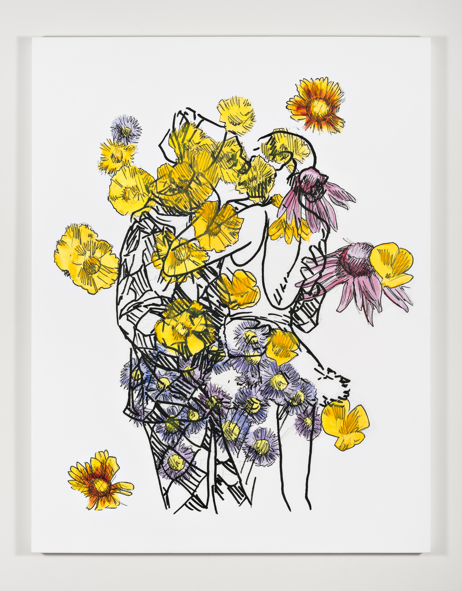 "Mieke Marple,  Eternal (Kiss/Wildflowers) , 2019, Acrylic paint and inkjet on canvas, 70 x 54 x 2"" [HxWxD] (177.8 x 137.16 x 5.08 cm)"