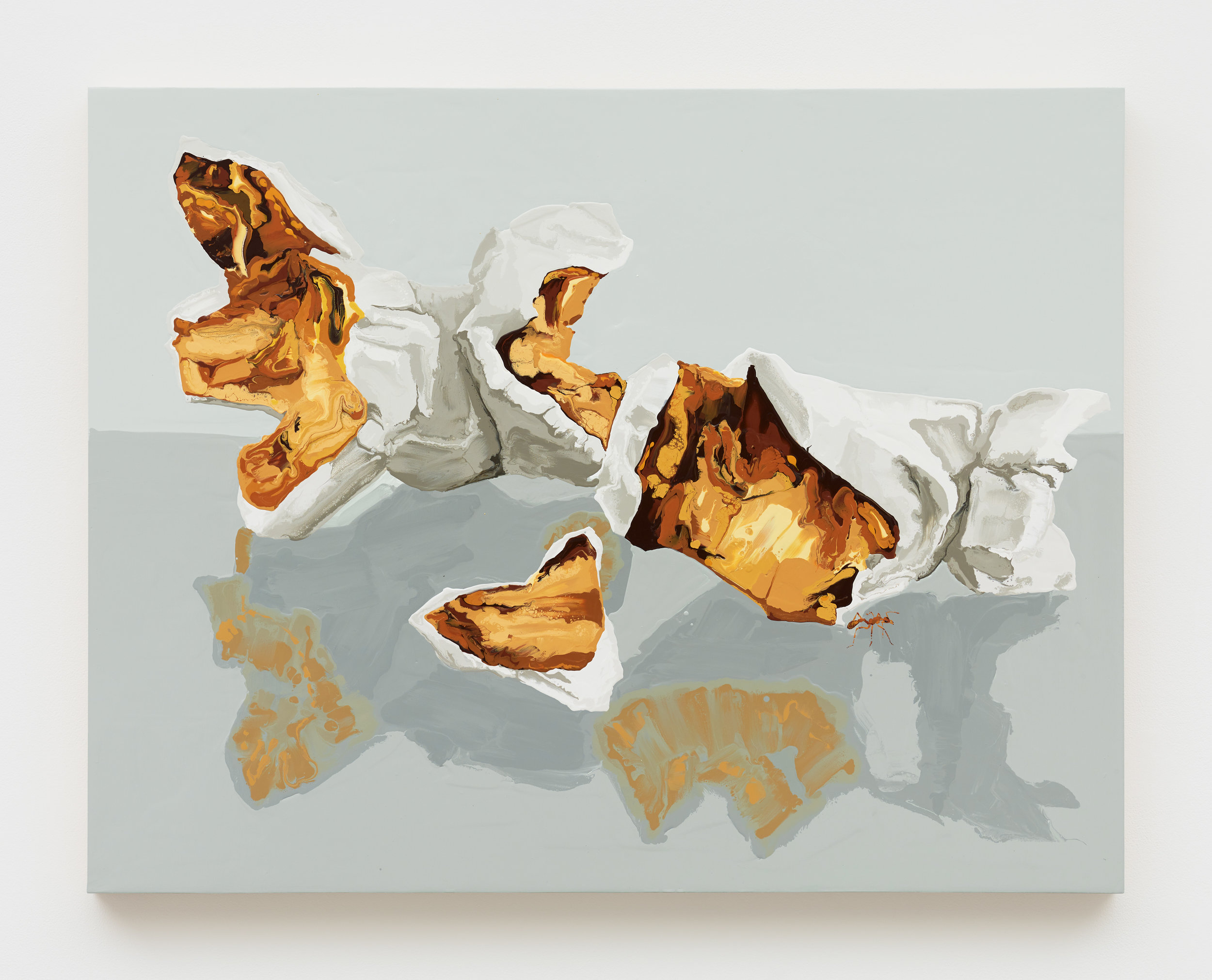 Kirsten Everberg, Red Formica adn Popcorn (Pae White, Double), 2019, Oil and enamel on wood panel, 36 x 24 inches