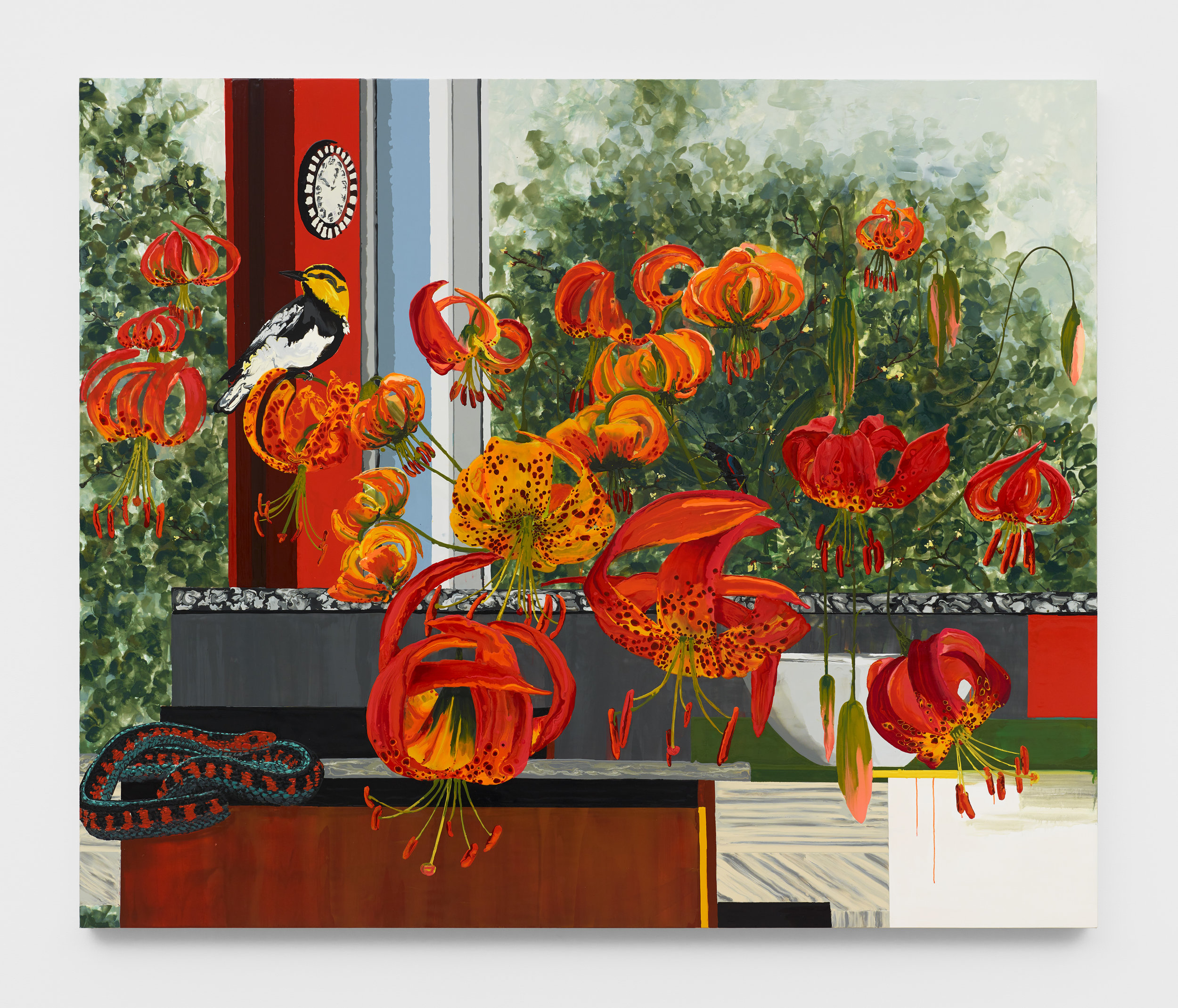 Kirsten Everberg, Western Lilies, 2019, Oil and enamel on canvas mounted on wood panel, 72 x 60 inches